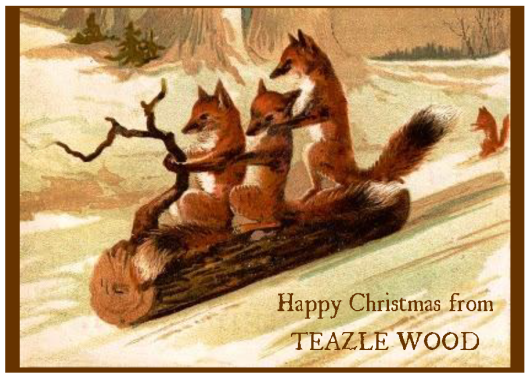 three foxes sledging on a log in a wood
